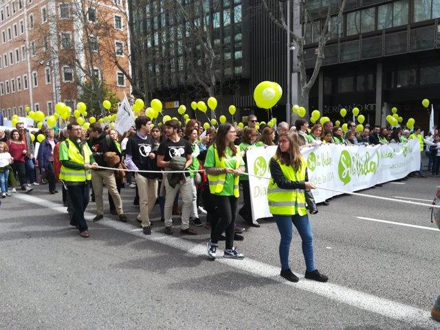 Asociaciones 'provida' en la manifestación del 15 de abril de 2018 en Madrid