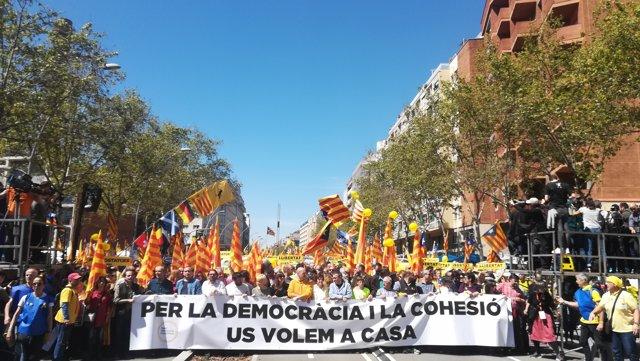 Manifestació a Barcelona pels presos sobiranistes