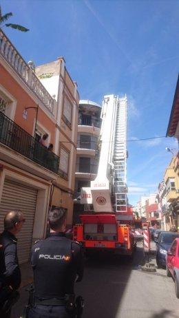 Incendio en una vivienda en Alzira