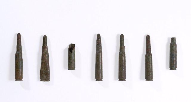 Siete balas de la Guerra Civil recuperadas de un solar de Padrón