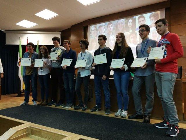 Alumnos de la Olimpiada de Biología celebrada en Badajoz