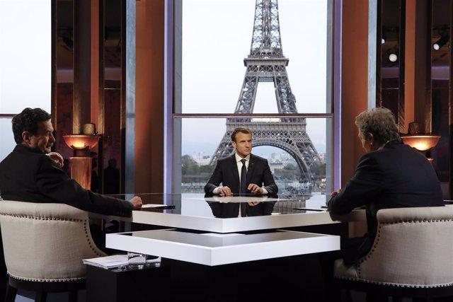 Emmanuel Macron, durante una entrevista