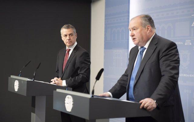 Comparecencia del lehendakari con el presidente de Confebask