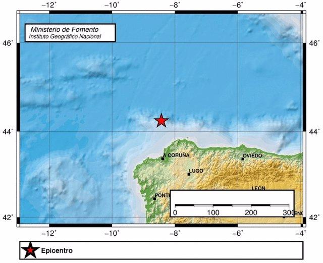 Terremoto en el Atlántico frete a Galicia