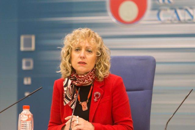 La vicepresidenta, Eva Díaz Tezanos, en rueda de prensa