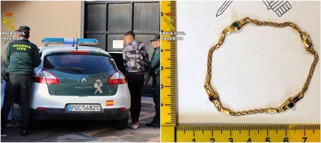 Imagen del detenido y de una de las joyas recuperadas
