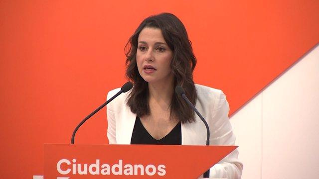 Inés Arrimadas en roda de premsa