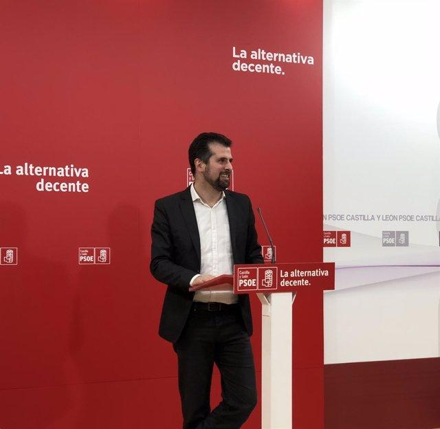Luis Tudanca comparece ante la prensa, 16-4-18