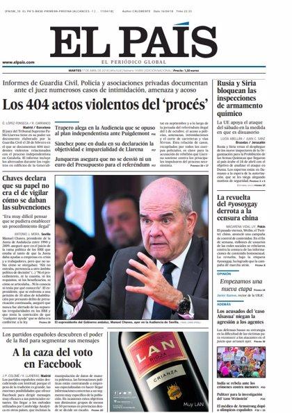 Las portadas de los periódicos de hoy, martes 17 de abril de 2018