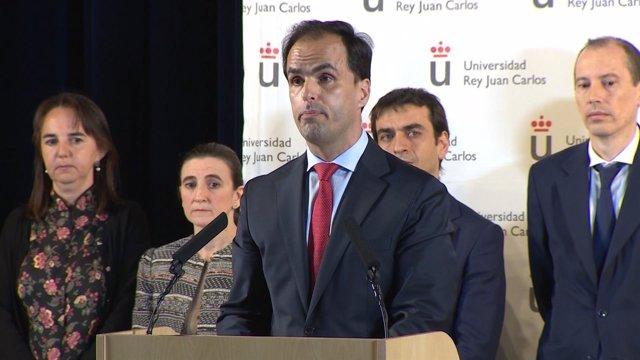 El rector de la URJC, Javier Ramos, en una comparecencia