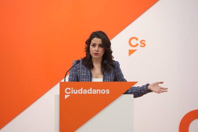 Rueda de prensa de la portavoz nacional de Ciudadanos, Inés Arrimadas