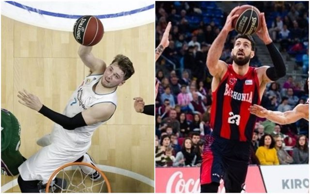 Doncic (Real Madrid) y Shengelia (Baskonia)