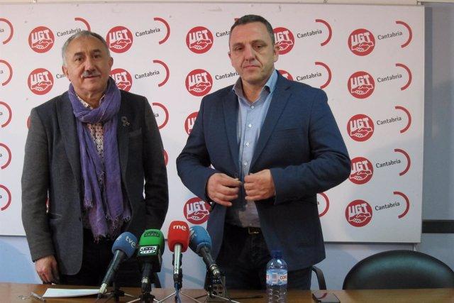 Pepe Álvarez, UGT, y Mariano Carmona, UGT Cantabria