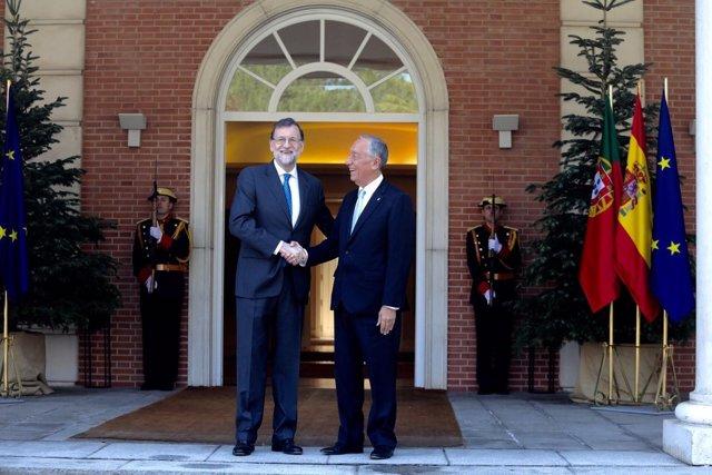 Rajoy recibe a presidente portugués, Marcelon Rebelo de Sousa