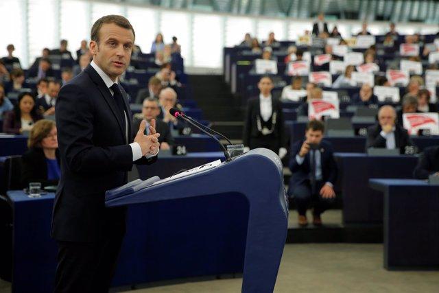 Emmnauel Macron en el Parlamento Europeo