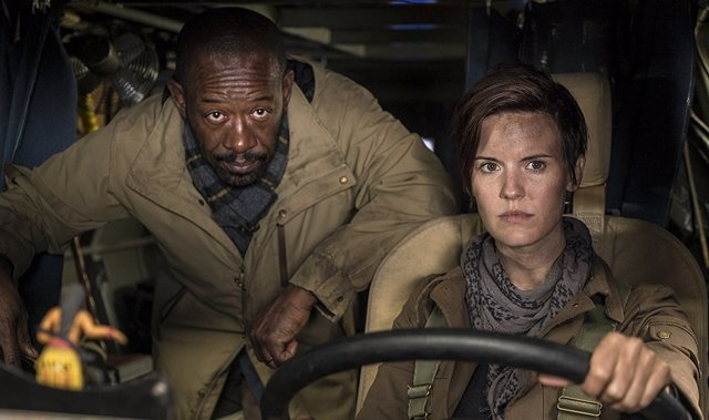 Lennie James y Maggie Grace en Fear the Walking Dead
