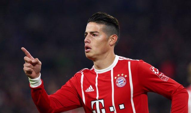 James Rodríguez celebra un gol con el Bayern Múnich