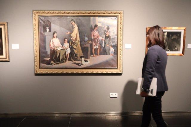 Muestra de un lienzo de la exposición 'Divina alusión' de la Fundación Unicaja