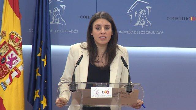 Irene Montero declara en el Congreso de los Diputados