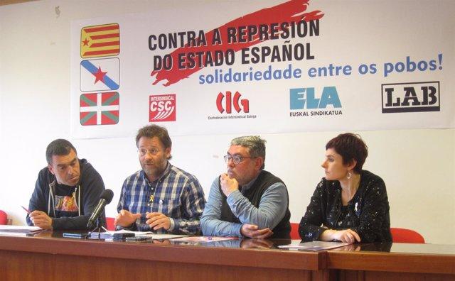 Rueda de prensa de ELA, CIG, CSC y LAB