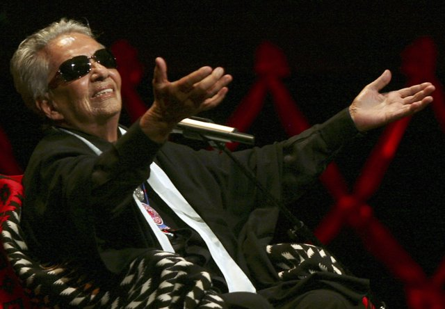 Costa Rican born singer Chavela Vargas celebrates her 90th birthday during a cer