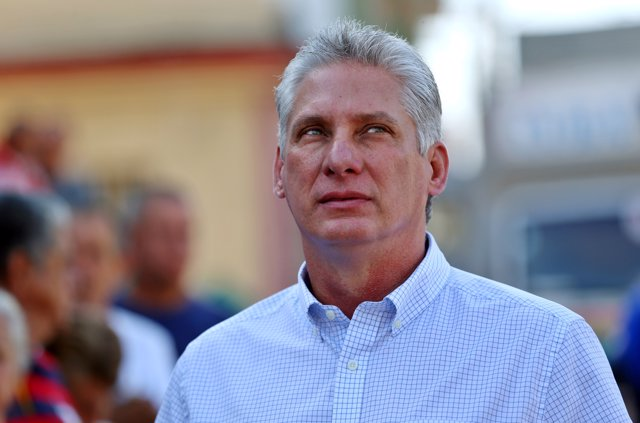 FILE PHOTO: Cuba's First Vice-President Miguel Diaz-Canel stands in line before