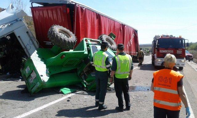 El accidente ha ocurrido en la N-122, a la altura de Torrellas (Zaragoza)