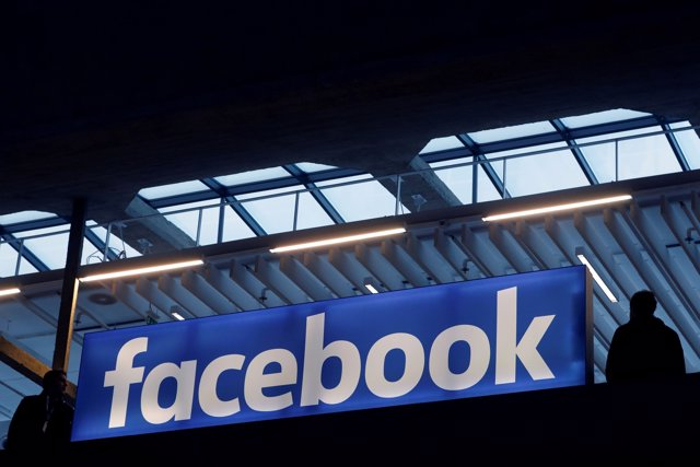 FILE PHOTO: Facebook logo is seen  at a start-up companies gathering at Paris' S