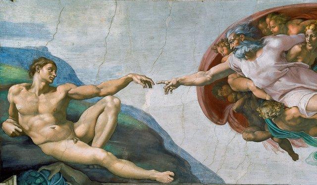 La creación de Adán de Miguel Ángel