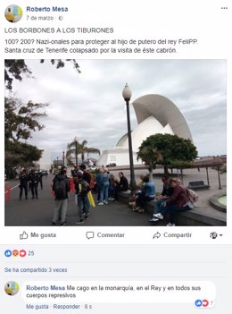 Detenido un joven en Tenerife por injurias a la Corona