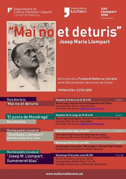 Fundació Mallorca Literària divulga la poesía de Josep Maria Llompart con un ciclo hasta julio
