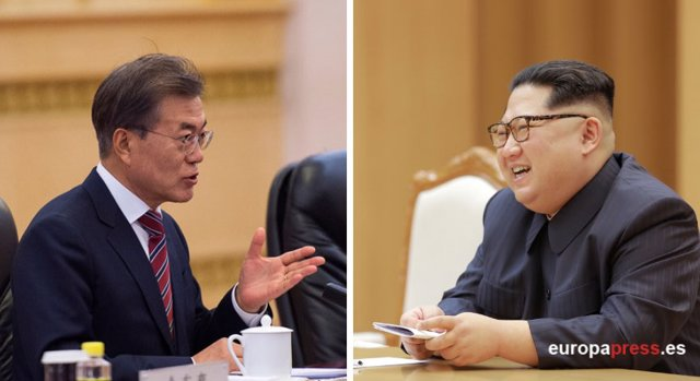 Fotomontaje de Moon Jae-in y Kim Jong-Un