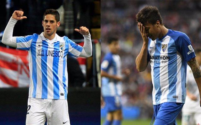 Isco y Peñaranda en diferentes etapas con el Málaga