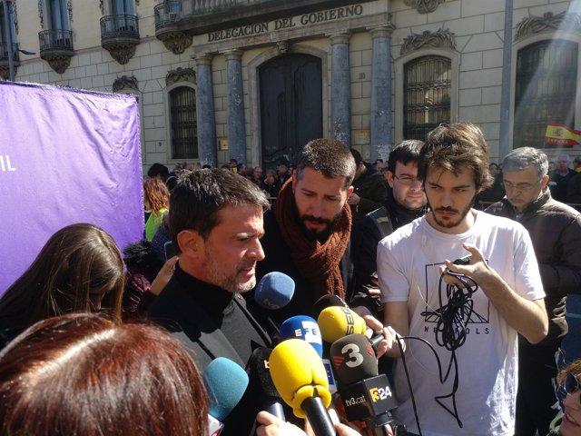 Manuel Valls en declaraciones antes de la manifestación de SCC