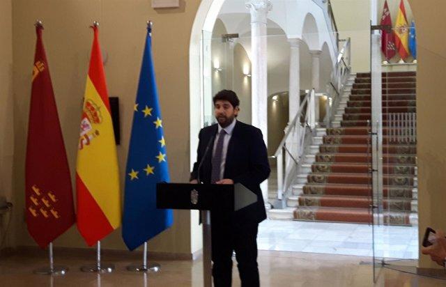 López Miras anunciando su nuevo Equipo de Gobierno