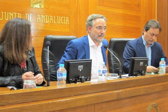 El consejero de Fomento y Vivienda, Felipe López (c).