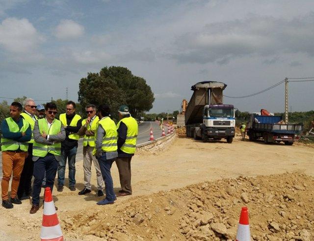 Visita obras carretera Los Caños de Meca