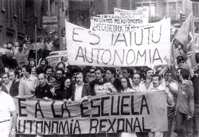 Manifestación por la autonomía en 1976.