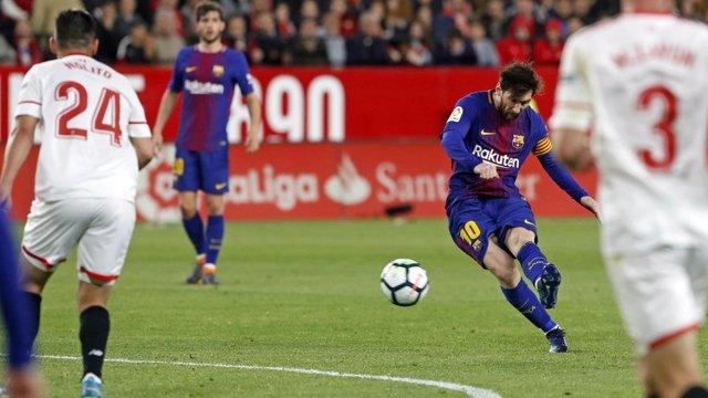 Leo Messi, jugador del FC Barcelona ante el Sevilla