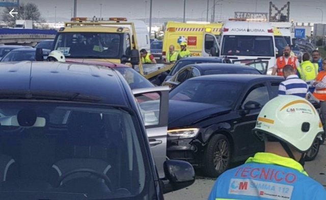 Imagen del accidente de tráfico en la M-50 a la altura de Getafe
