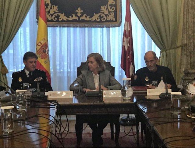 Delegada del Gobierno durante la reunión del dipositivo de seguridad de la Copa