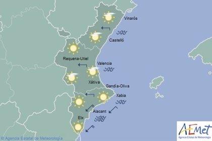 Las máximas superarán los 20 grados y los cielos estarán poco nubosos en la Comunitat este sábado