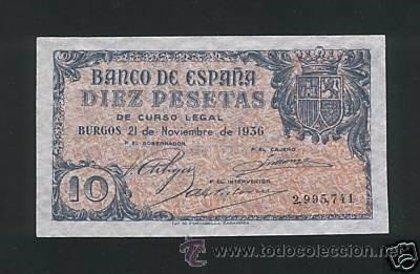 """El portal malagueño Todocoleccion tiene a la venta un """"raro"""" billete de diez pesetas que cuesta 12.000 euros"""