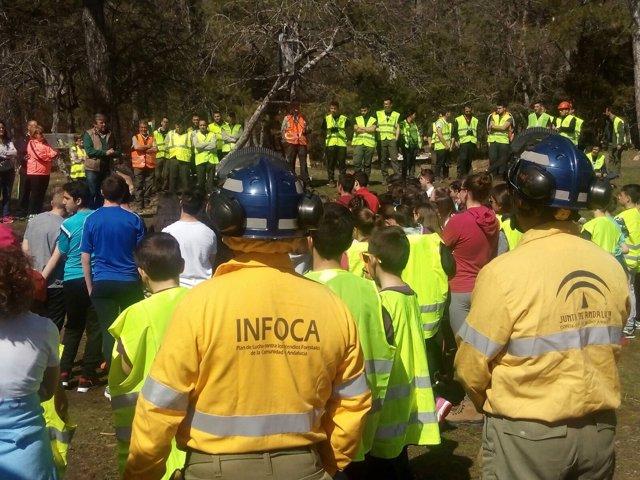 La Junta muestra a alumnos tareas de restauración del incendio de Segura