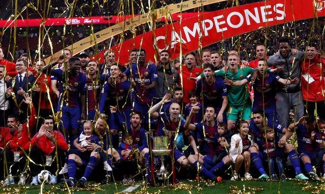 El FC Barcelona celebra la Copa del Rey 2018
