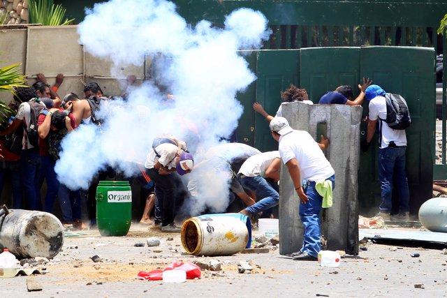 Protestas en la zona universitaria de Managua