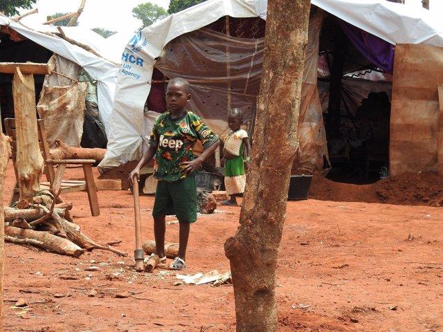 Un niño desplazado en República Centroafricana