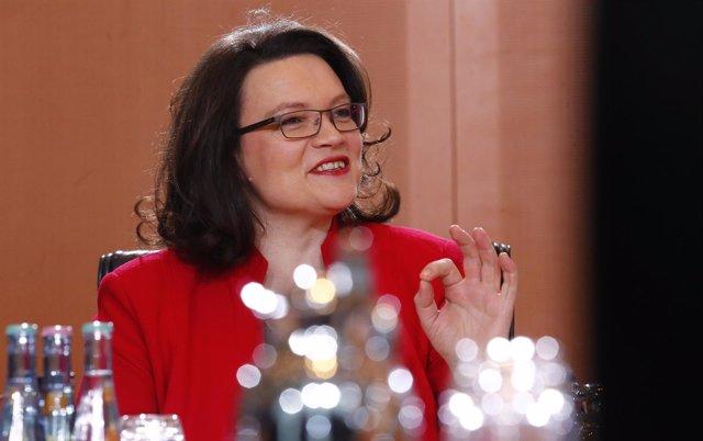 Ministra de Empleo y Asuntos Sociales de Alemania, Andrea Nahles.