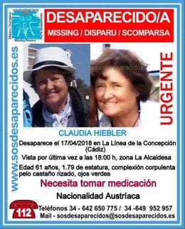 Cartel de la desaparición de una mujer de 61 años en La Línea