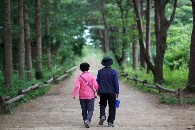 Pareja, paseo, paseando